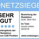 Spitzenergebnis: Außerordentlich positives Testresultat für tourist-online.de auf netzsieger.de